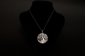 beautiful antique Oriental Turkish gold jewelry women's chain with pendant handmade black background
