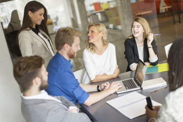 Business team working together in modern office