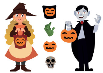 Big Halloween set with two characters and elements Vampire and the Little Witch, with Pumpkin Jack isolated on the white background