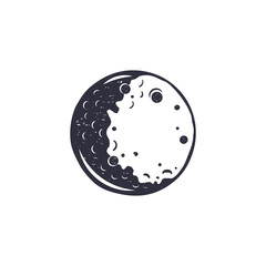Vintage hand drawn moon symbol. Silhouette monochrome moon icon. Stock vector illustration isolated on white background. Retro design