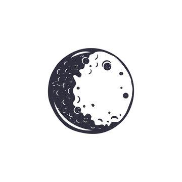 Vintage hand drawn moon symbol. Silhouette monochrome moon icon. Stock vector illustration isolated on white background. Retro design