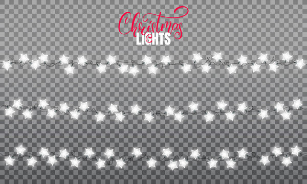 Christmas lights. Realistic string lights design elements of star shape lamps. Glowing lights for winter holidays. Shiny garlands for Xmas and New Year