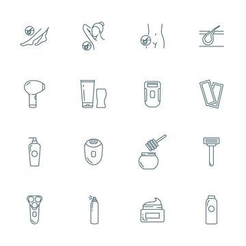 Epilation vector icons set