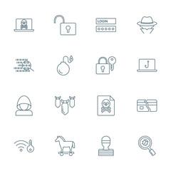 Hacking, computer viruses icons set