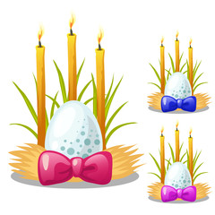 Search photos by antonlunkov easter egg with bow and burning candles decorated with grass and straw symbol and decoration sciox Images