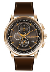 Gold watch chronograph brown leather strap on white background vector illustration.
