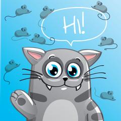 Vector illustration of cartoon cat. Hi
