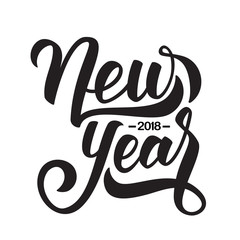 Vector illustration. Hand drawn elegant modern brush lettering of Happy New Year 2018 isolated on white background.