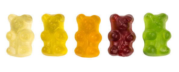 row of fruity gummy bears