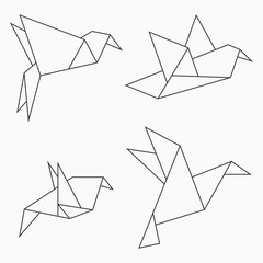 Origami bird collection. Set of line geometric shape for art of folded paper. Vector illustration.