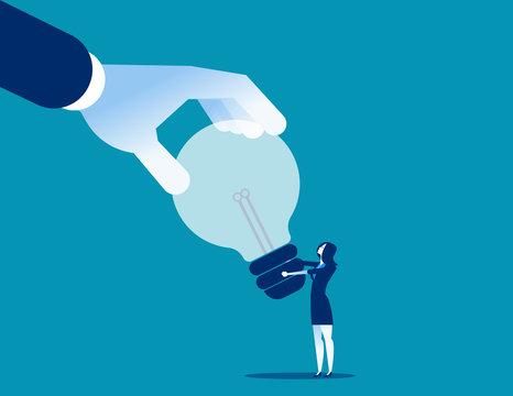 Business hand stealing idea light bulb. Concept business vector illustration. Flat design style.