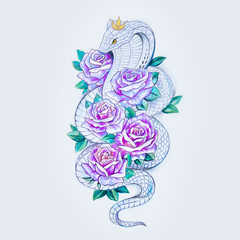 Sketch of snake cobra with purple flowers on a white background.