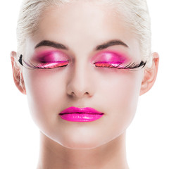 Woman with pink fancy makeup