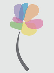 Simple basic shape flower with pastel colored petals and grey stem.