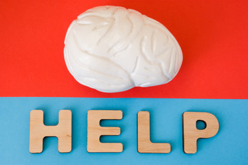 Brain with Help word. Anatomical model of human brain is on red background, below letters that make word Help on blue background. Medical care, diagnosis, treatment for human organ