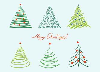 Christmas tree set. Vector hand drawn simple illustration.