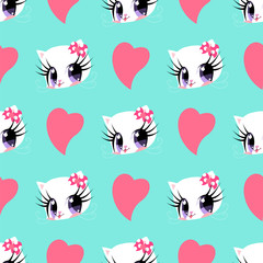 Pattern with pink hearts and cats for Valentine's Day.