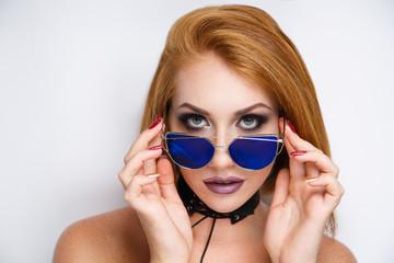 woman blue sunglass