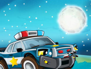 cartoon scene with police car looking at the moon and stars illustration for children