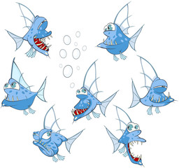 Set of Cartoon Illustration. A Cute Fish for you Design