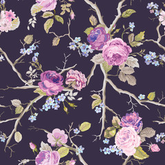 Violet Roses Flowers Texture Background. Seamless Floral Pattern in vector