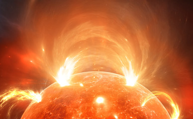 Sun with corona. Solar storm, solar flares. For use with projects on science, research, and education.