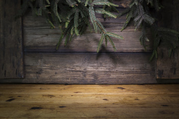 Christmas Background With Pine Branches Against Rustic Wooden Boards