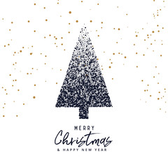 creative christmas tree design made with dots, xmas greeting