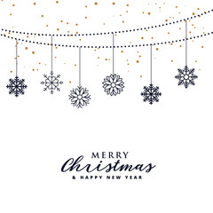 elegant christmas festival greeting background with hanging snowflakes