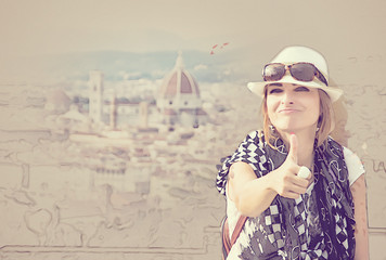 Young woman with thumb up in Florence, Italy, sketch