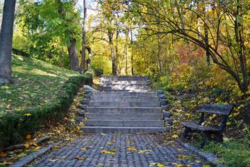 Каменные ступени в осеннем парке
