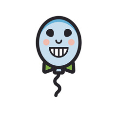 Balloon with grinning face and bow tie vector flat line icon on isolated background.