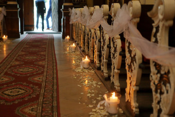 Decoration in the church before wedding ceremony