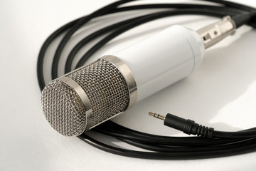 Professional condenser studio microphone on the white background