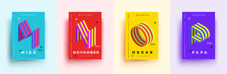 Modern Typographic Colorful Covers. Isometric Letters M, N, O, P With Abstract Memphis Design Background. Vector Trendy Template For Your Posters, Banners, Presentations, Layouts