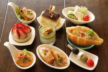Delicious assorted mini food cocktai banquet