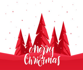 Vector Greeting Card with handwritten lettering of Merry Christmas and pine forest.