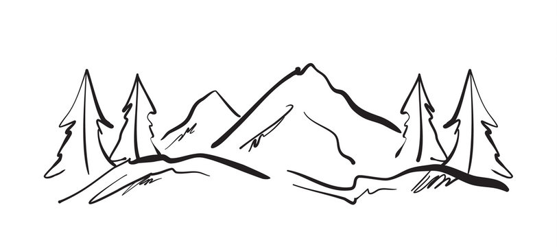 Vector illustration: Hand drawn Mountains sketch landscape with hills and pines.