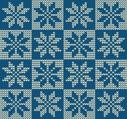 Knitted Christmas Pattern With Snowflake