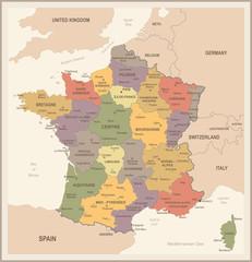 France Map - Vintage Vector Illustration