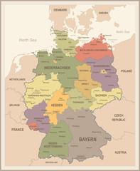 Germany Map - Vintage Vector Illustration