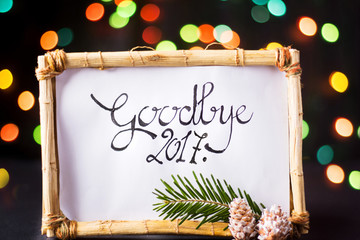 Goodbye 2017 card in a wooden frame