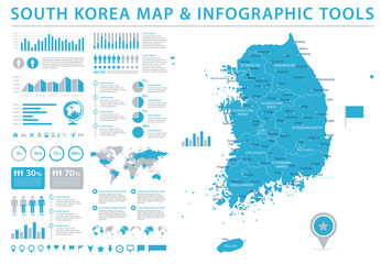 South Korea Map - Info Graphic Vector Illustration