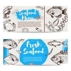 Seafood flyer template. Fish, shrimps, oyster, lobster, crab.