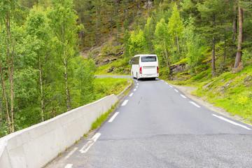 Weisser Bus fährt auf einer engen Landstrasse durch den Wald in Norwegen
