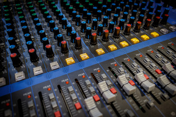 Audio mixer close up