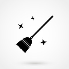 witch broom Halloween concept isolated flat vector icon