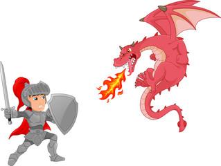 knight boy with angry dragon cartoon