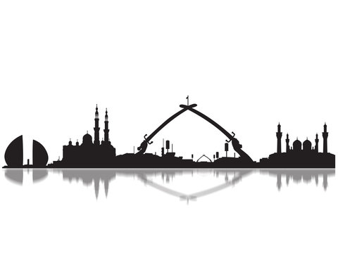 Detailed Baghdad Monuments Skyline Silhouette
