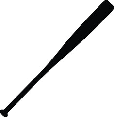 A black and white silhouette of a baseball bat